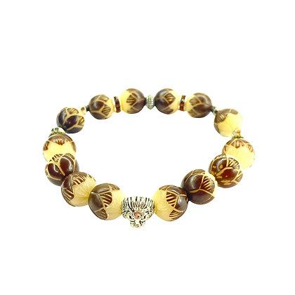 Natural Tagua Nut Beaded  bracelet  with lion head fashion bracelet