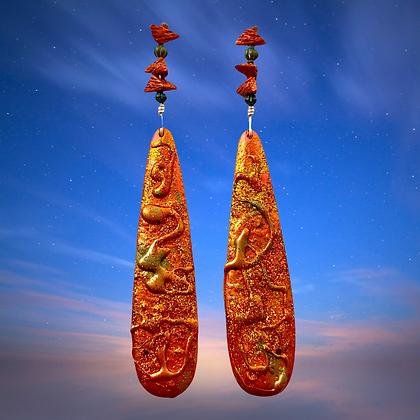 Beautiful Statement Copper Fashion Wood Earrings