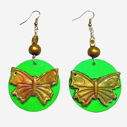 Artist Green Butterfly Gold Wood Bead Earrings