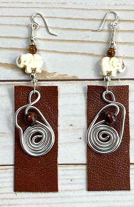 Friend Coiled Beaded Elephant Leather Earrings