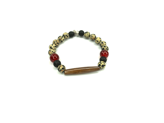 Boho black over dot wood front bracelet