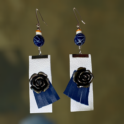 Leather Rose Fashion Fringe Style Earrings