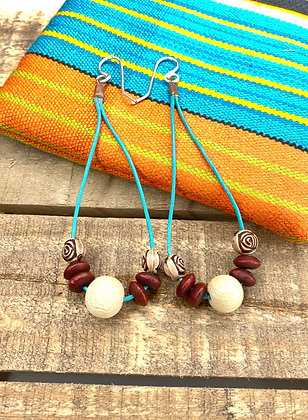 Leather Cord Rose Bead Earrings