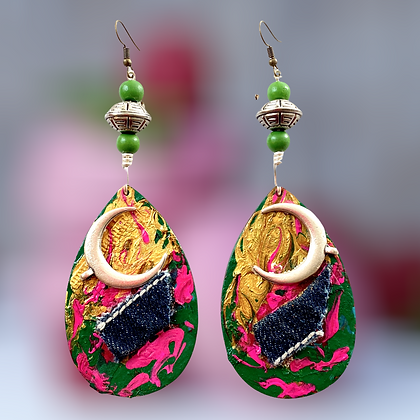 Abstract Woman Sassy Denim Touch Earrings
