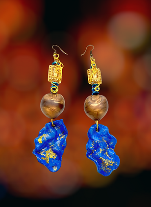 Abstract Blue Polymer Clay Fashion Earrings