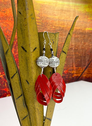 Candy Apple Red Strap Earrings