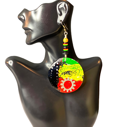Hand Painted Tango splashed Wooden Earrings