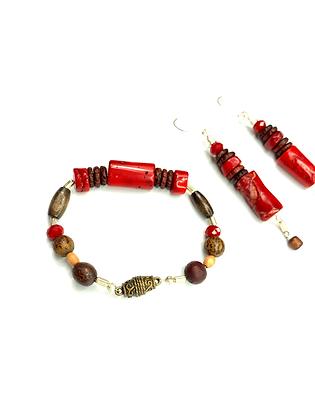 Natural coral red gemstone 2 pc bracelet set
