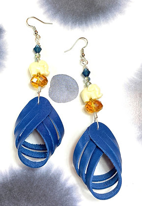 Crisscross Butter Blue Leather Elephant Earrings