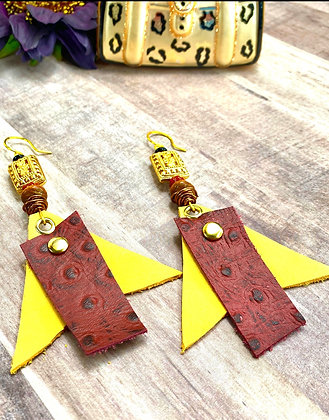 Sunny Blaze Red and Yellow Leather Earrings