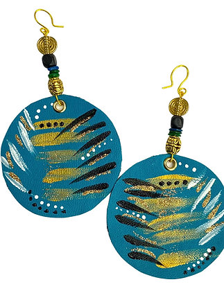 Striped Flared Leather Turquoise Oval Earrings