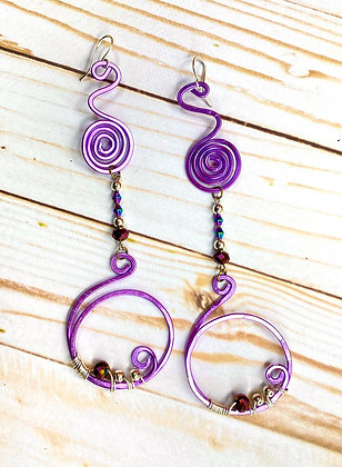 Purple Purple Wire Wrapped Earrings