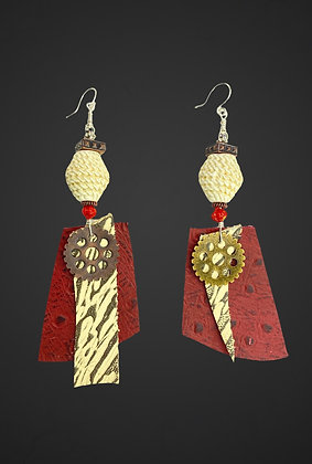 Just Me Red Leather Accent Earrings