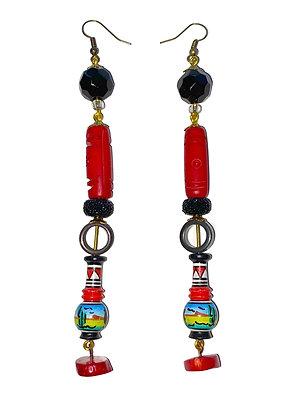 Coral Stone Genie Earrings
