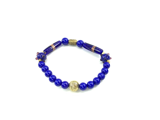 Solar bright blue beads glass logged boo beaded style bracelet