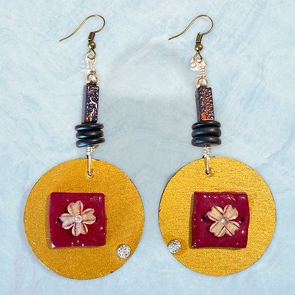 Rustic Boho Flower Style Fashion Wood Dangle Earrings