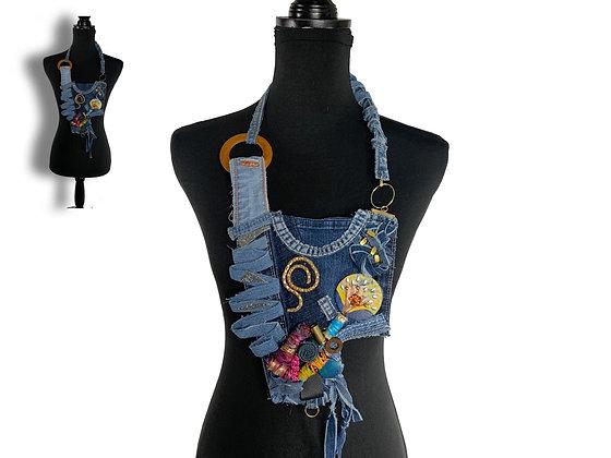 Live funky oversized denim Art Deco necklace