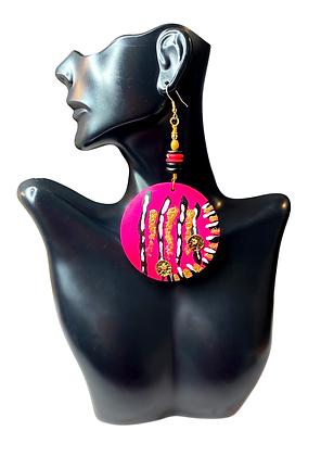 Wooden Dangle Hot Pink Candy Earrings
