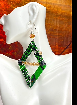 Green Tribal Cross Over Earrings