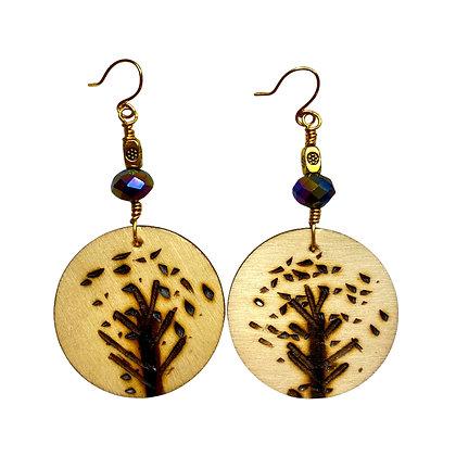 Speaking Tree Crystal  Bead Wood Earrings
