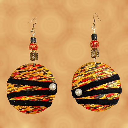 Wide Eye Tiger Abstract  Woman Style Fashion Earrings