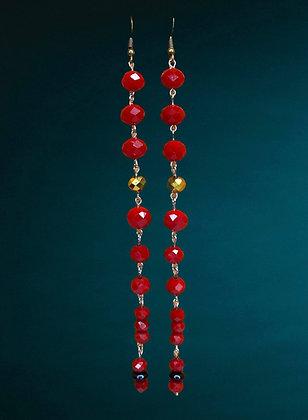 Red Shim Shoulder Bead Dangle Fashion Style Earrings