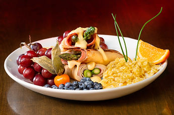 """Pancake plate for """"La Station"""" restaurant, with aspergus and eggs"""
