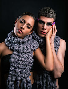 Couple shot very dramatic with scarf