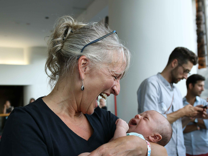 Véronique Rivest and a baby