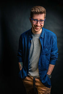 Darren Smile at the camera in Nicolas Chevallier Photography Studio at Gatineau
