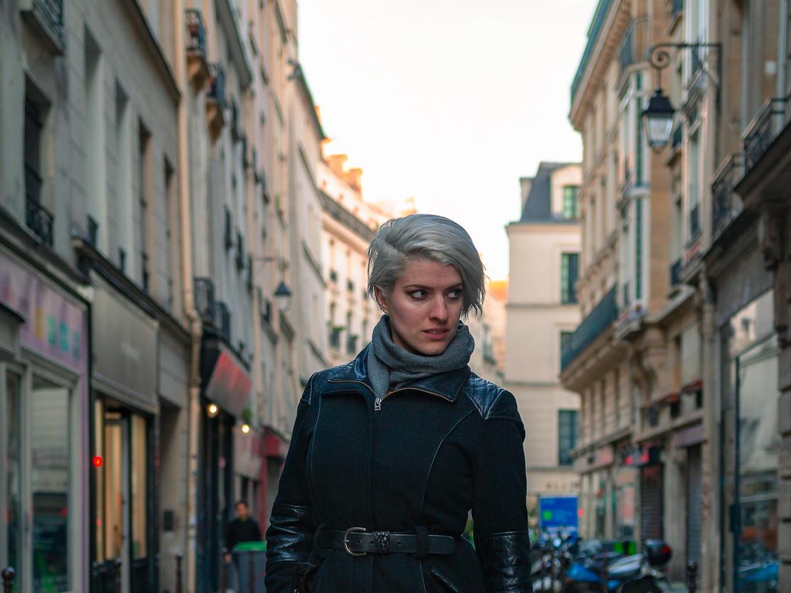 Paris street and Parisian girl