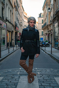 Beatrice in Paris City street with beautiful boots