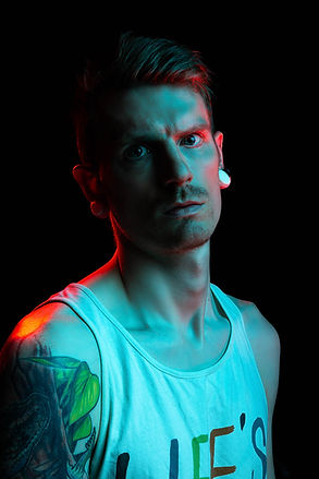 Studio pictures of myself with red and blue lights.