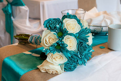 Wedding Flower bouquet on a table White and blue