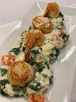 Shrimp & Scallop Florentine Risotto