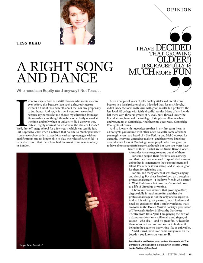 A right song and dance ! Exeter Living column March 2017