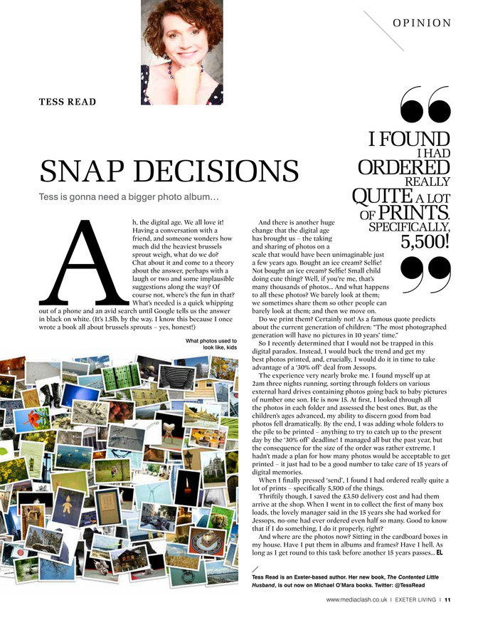Snap Decision, Exeter Living column August 2017