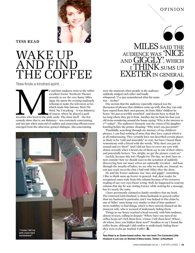 Wake up and find the coffee, Exeter Living April 2017