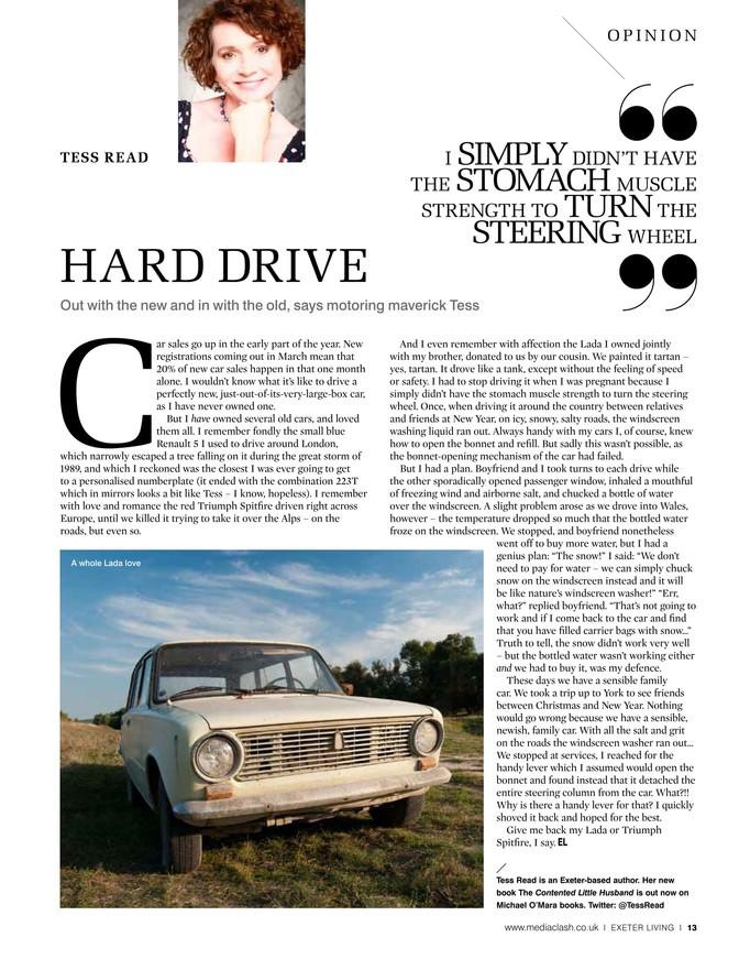 A whole Lada love.                              Exeter Living column Feb 2017