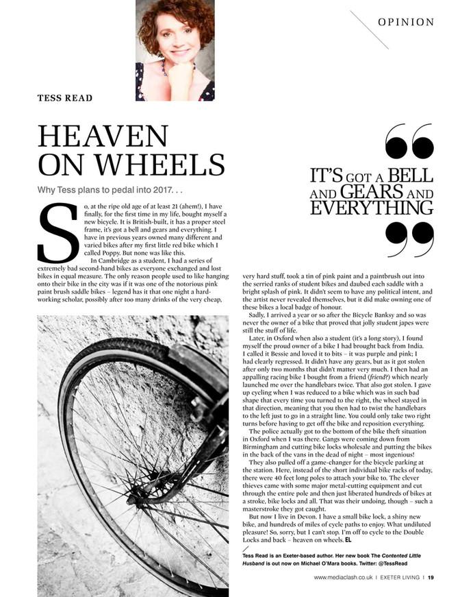 Heaven on Wheels. Exeter Living column Jan 2017