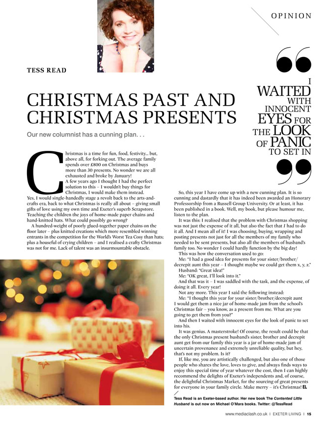 Christmas past and Christmas presents. Exeter Living column Christmas 2016