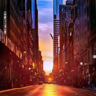 nyc street sunset