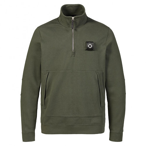 MA.STRUM sweatshirt met rits donker groen