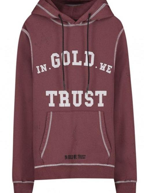 In Gold we trust Hoody model The Dre kleur bordeaux