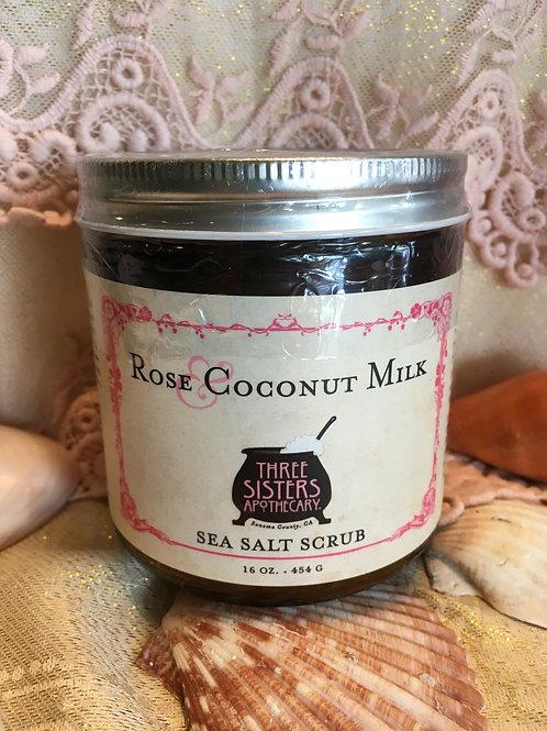 Rose & Coconut Sea Salt Scrub - 16 oz