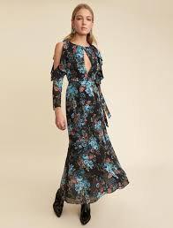 """LPA """"Dress 7"""" Blue Floral Cut-out Dress"""
