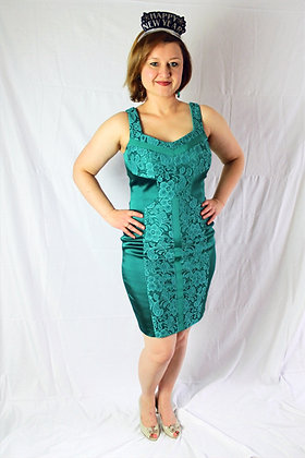 Green Satin and Lace Cocktail Dress