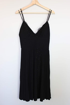 Pleated Bead-Detail Dress