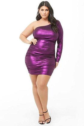 One Shoulder Metallic Dress