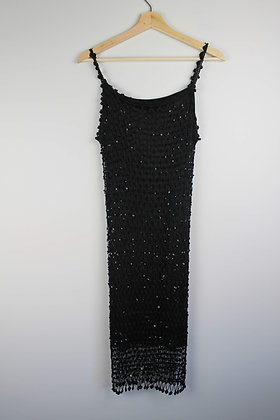 Black Sequin Knit Flapper Dress